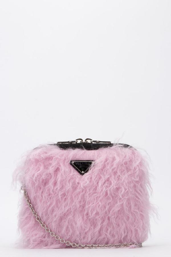 Prada Fur Clutch Bag In Pink
