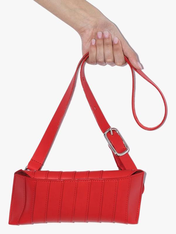 Venczel Red V8s Stripe Leather Shoulder Bag