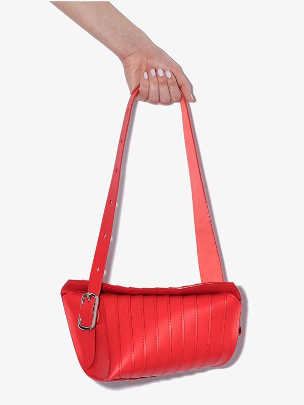 Venczel Red Aera S Stripe Leather Shoulder Bag