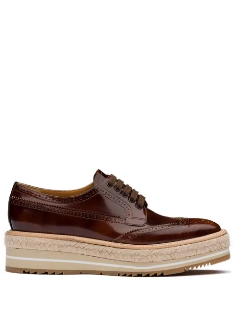 Prada Leather Brogues Lace-up Shoes In Brown