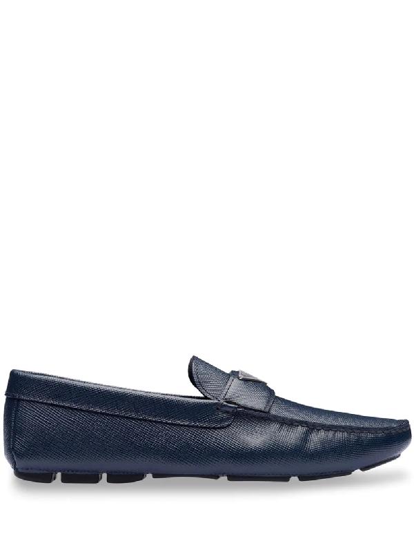 Prada Logo-plaque Saffiano Leather Loafers In Blue