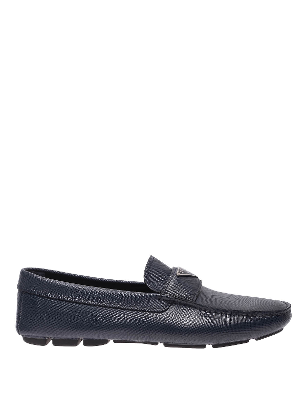 Prada Logo-plaque Saffiano Leather Loafers In Dark Blue