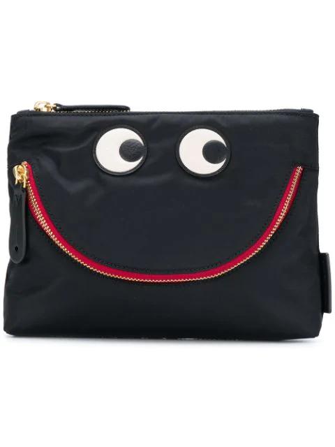 Anya Hindmarch Happy Eyes Clutch In Black