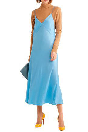 Victoria Beckham Satin-crepe Midi Dress In Light Blue