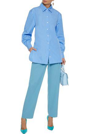 Victoria Beckham Martingale Belted Cotton-poplin Shirt In Blue