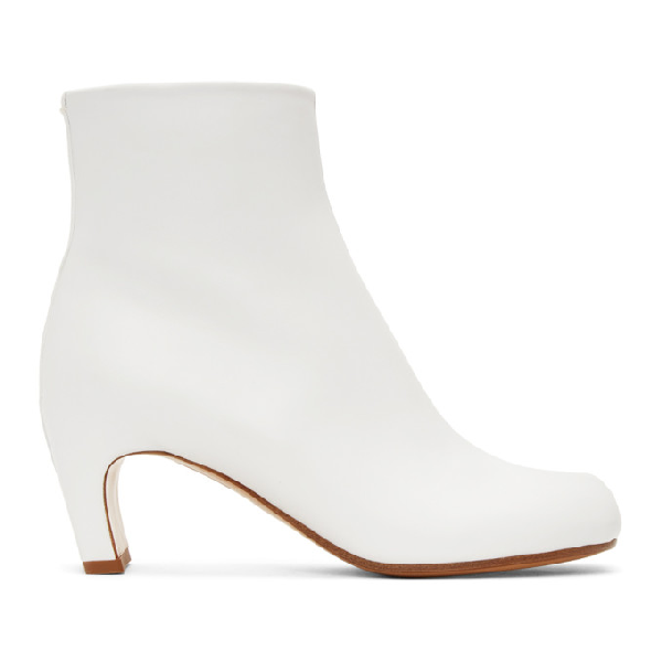 Maison Margiela White Tabi 60 Leather Ankle Boots In T1003 White
