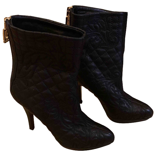 Versace Black Leather Ankle Boots