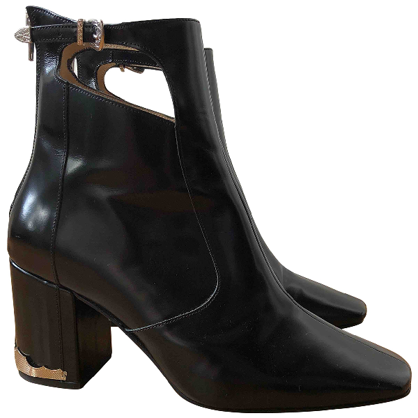 Toga Black Patent Leather Ankle Boots