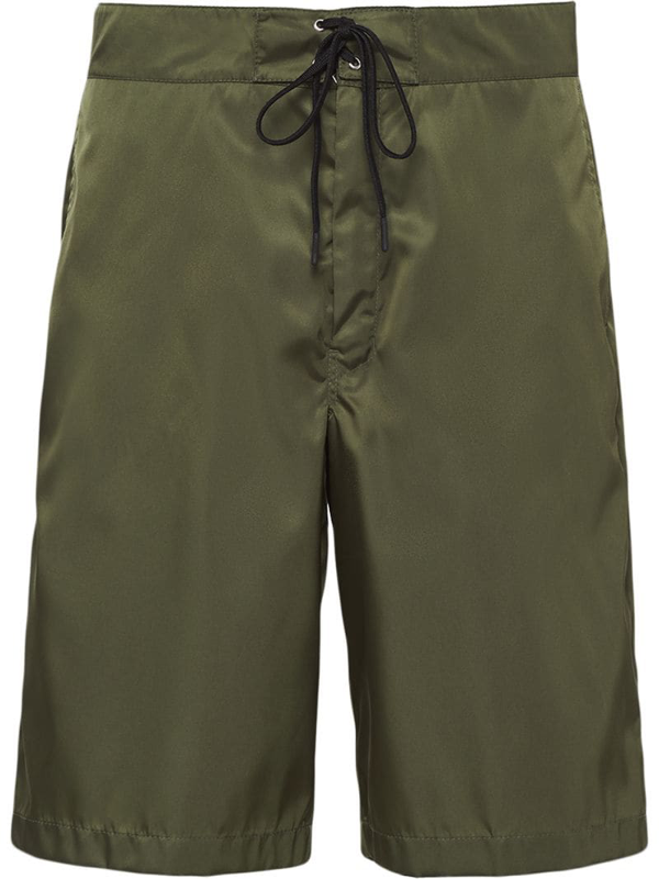 Prada Logo Plaque Swim Shorts In Green