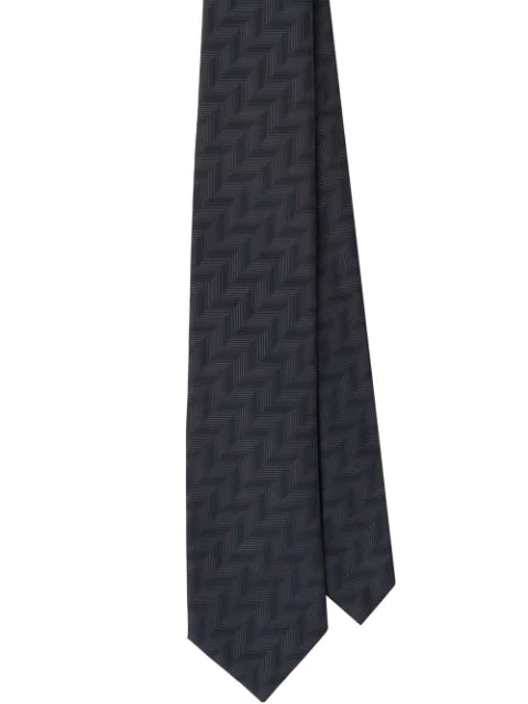 Prada Jacquard Geometric Motif Tie In Grey