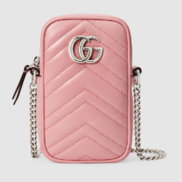 Gucci Gg Marmont Leather Mini Bag In Pink