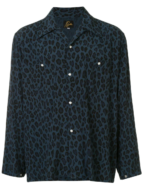 Needles Pointed Collar Leopard Print Shirt In Blue