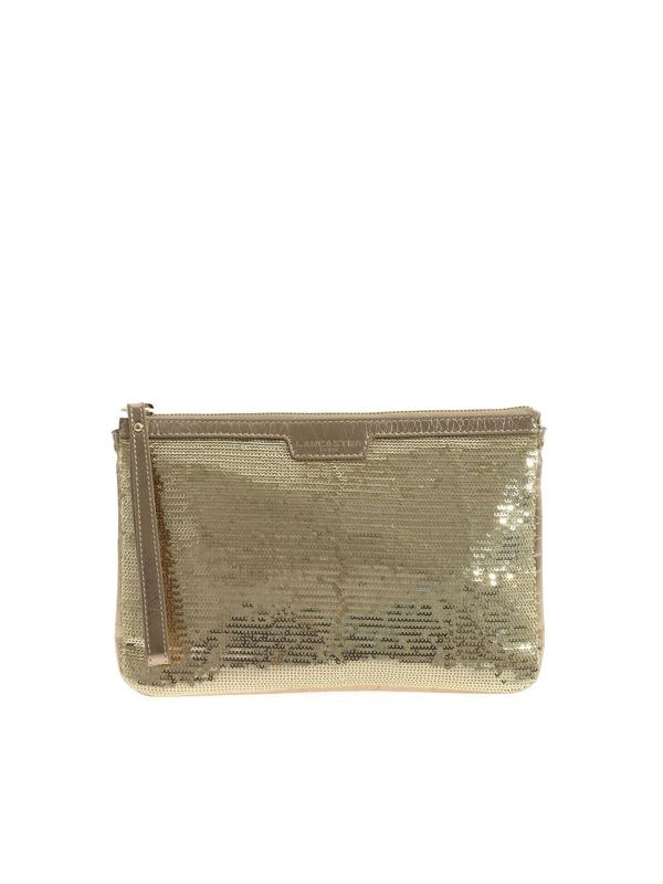 Lancaster Sequins Clutch Bag In Gold Color