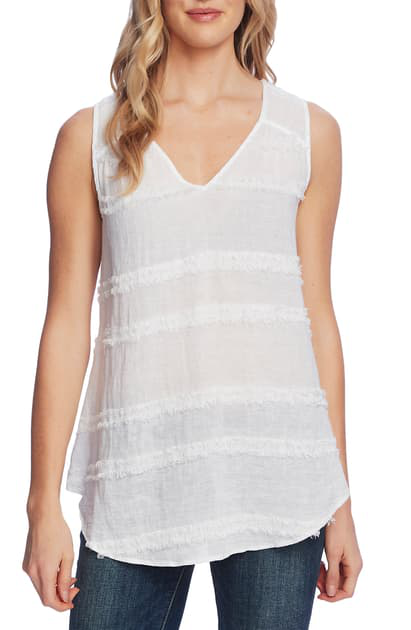 Vince Camuto Sleeveless Eyelash Trim Top In Ultra White