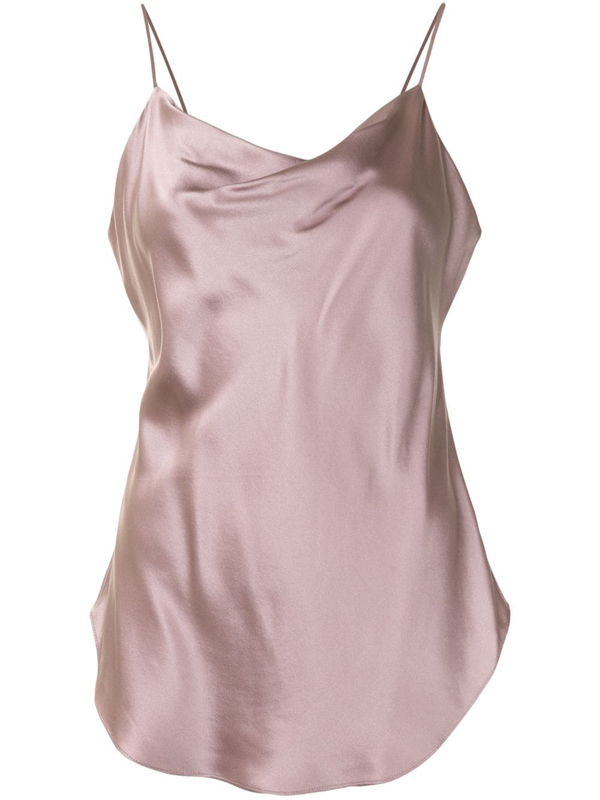 Cinq À Sept Marta Draped Silk-charmeuse Camisole In Pink