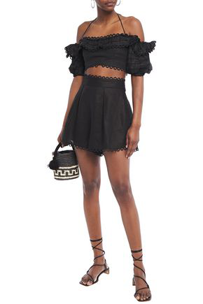 Zimmermann Allia Picot-trimmed Pleated Linen Shorts In Black