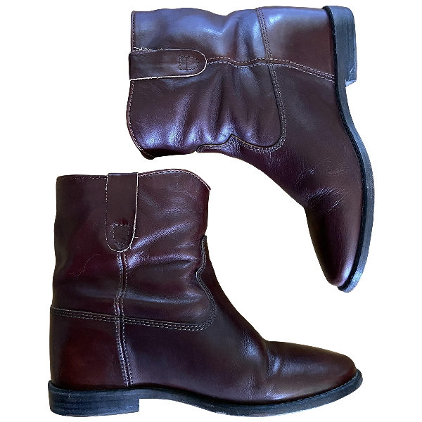 Isabel Marant Crisi  Burgundy Leather Ankle Boots