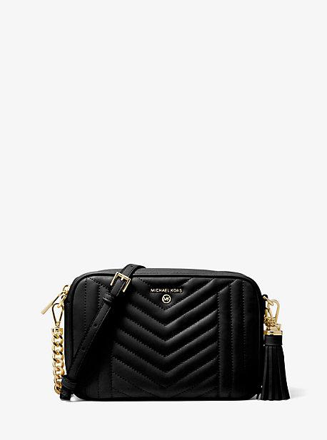 Michael Kors Jet Set Leather Medium Camera Bag In Black