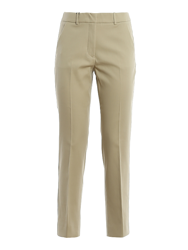 Weekend Max Mara Legenda Stretch Cotton Pants In Beige
