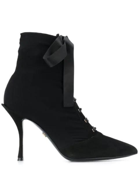Dolce & Gabbana Lori Stretch Jersey Ankle Boots In Black