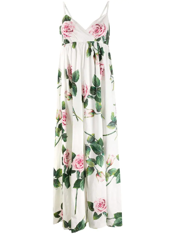 Dolce & Gabbana Cotton Tropical Rose Maxi Dress In White