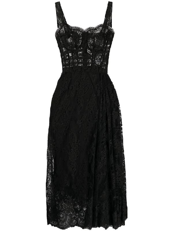 Dolce & Gabbana Floral Lace Midi Dress In Black