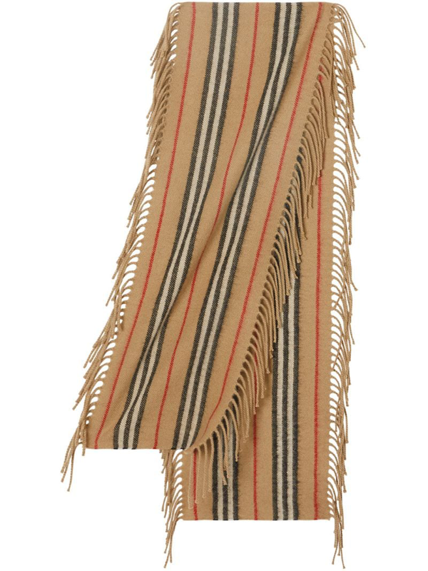Burberry Kids Fringed Icon Stripe Scarf In Neutrals