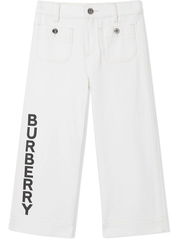 Burberry Kids Logo Print Japanese Denim Jeans (3-12 Years) In White
