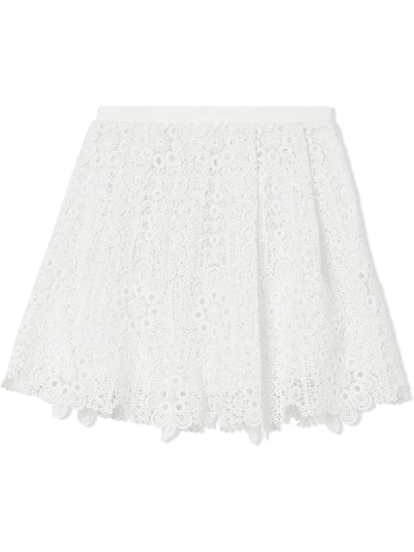 Burberry Kids Macramé Lace Pleated Skirt (3-12 Years) In White