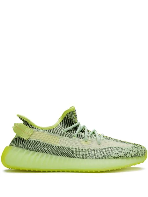 Adidas Originals Yeezy Boost 350 V2 Glow-in-the-dark Primeknit And Mesh Sneakers In Yellow