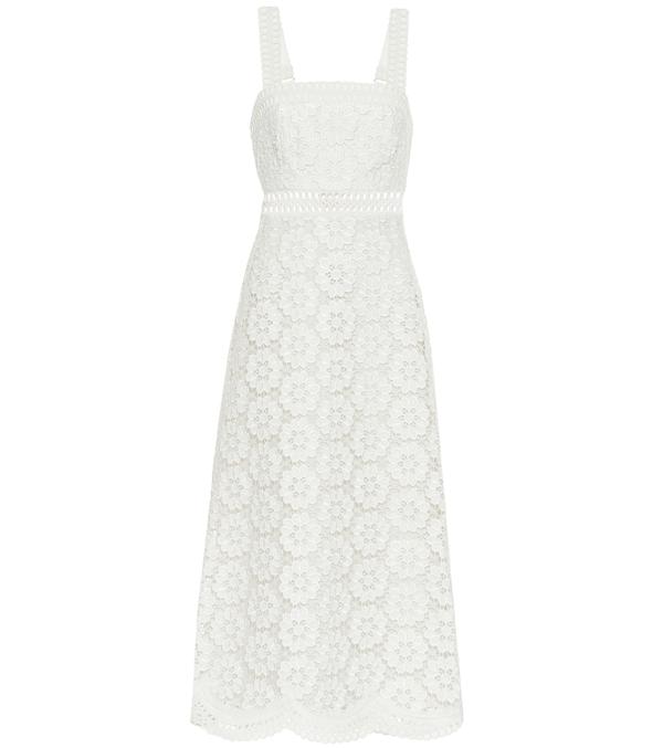 Zimmermann Women's Bells Lace Eyelet Linen-blend Midi Dress In White