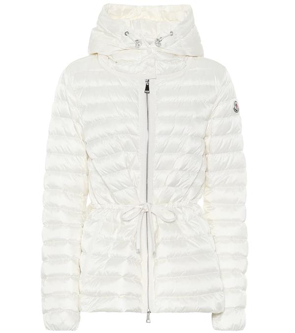 Moncler Raie Horizontal Drawstring Puffer Coat In White