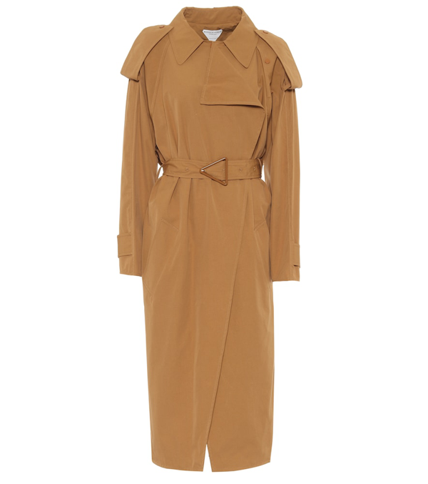 Bottega Veneta Triangular-buckle Long Trench Coat In Brown