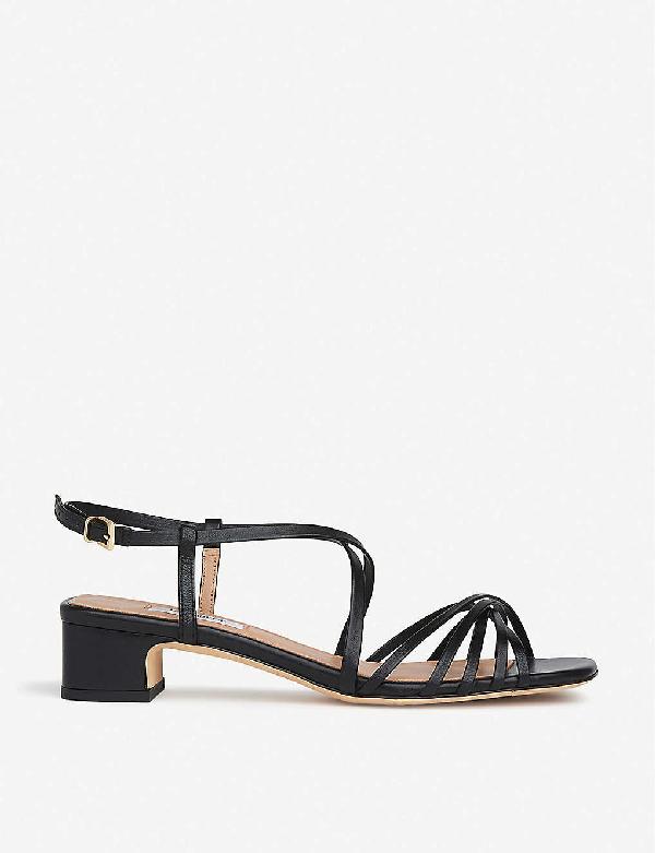 Lk Bennett Newport Strappy Leather Heeled Sandals In Bla-black