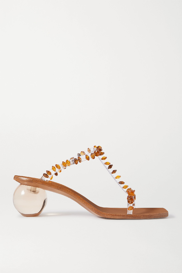 Cult Gaia Clio Bauble-heel Embellished Vinyl T-strap Mules In Clear