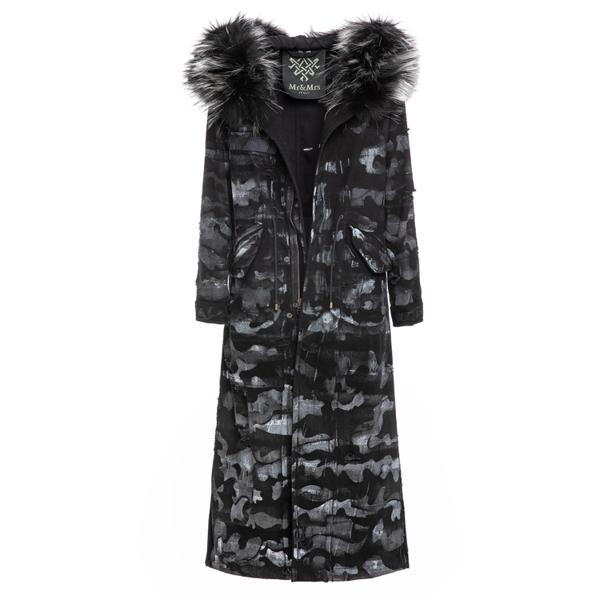 Mr & Mrs Italy Camouflage Denim Long Jazzy Parka In Black Denim / Black / Metal Black