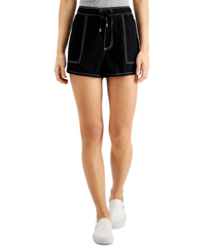 Dickies Contrast Stitch Pull On Shorts In Black