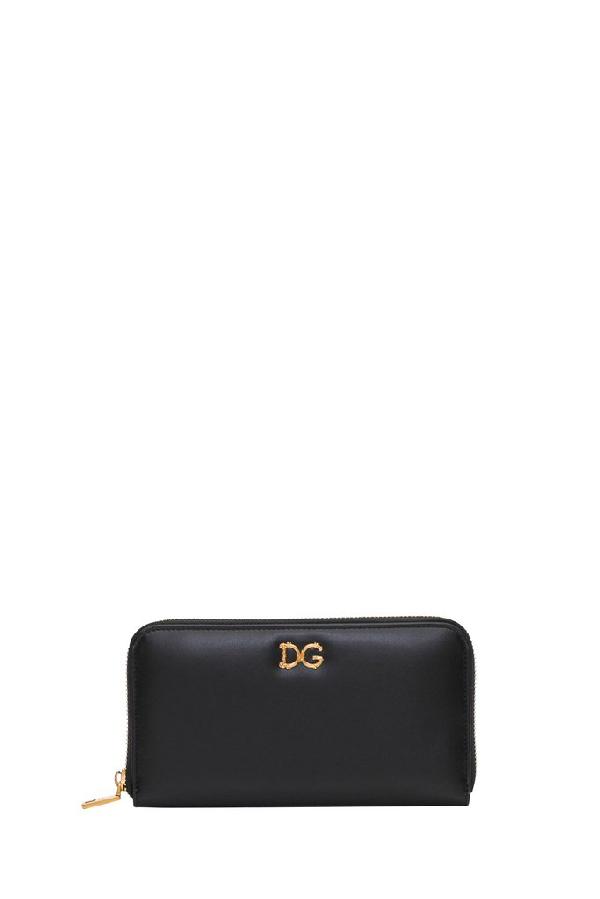 Dolce & Gabbana Baroque Logo Wallet In Black