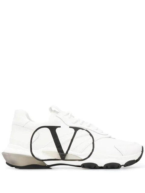 Valentino Garavani White And Black Leather Vlogo Sneakers