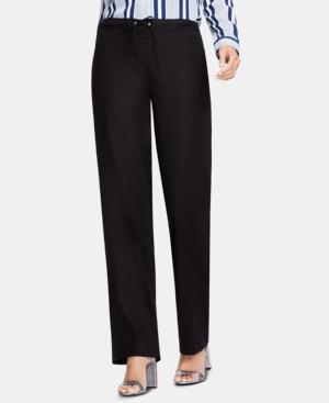 Vince Camuto Linen Drawstring Wide-leg Pants In Rich Black