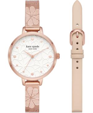 Kate Spade Women's Metro Floral Rose Gold-tone Stainless Steel Mesh Bracelet Watch 34mm Gift Set In Neutral Multi