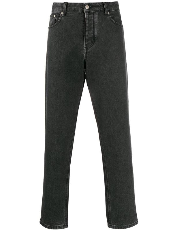 Ami Alexandre Mattiussi Straight Leg Cropped Jeans In Black