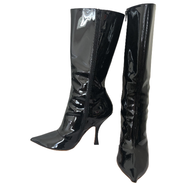 Y/project Black Patent Leather Boots