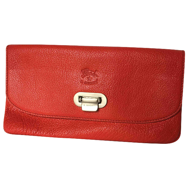 Il Bisonte Red Leather Clutch Bag