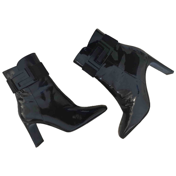 Versace Black Patent Leather Ankle Boots