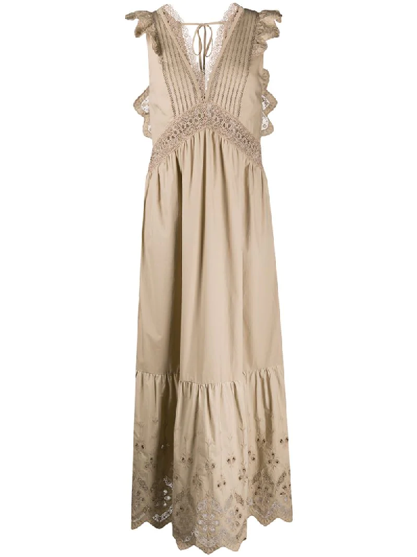 Self-portrait Cotton Broderie Sleeveless Maxi Dress In Neutrals