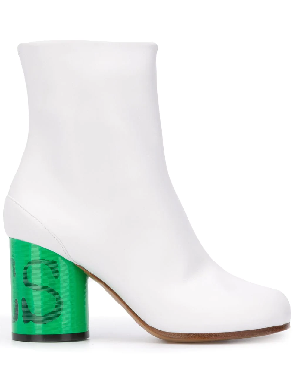 Maison Margiela Tabi Contrasting Heel Boots In White