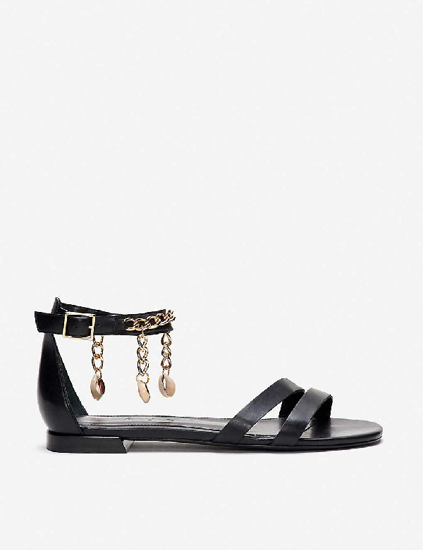 Claudie Pierlot Chain And Shell-embellished Leather Sandals In Black