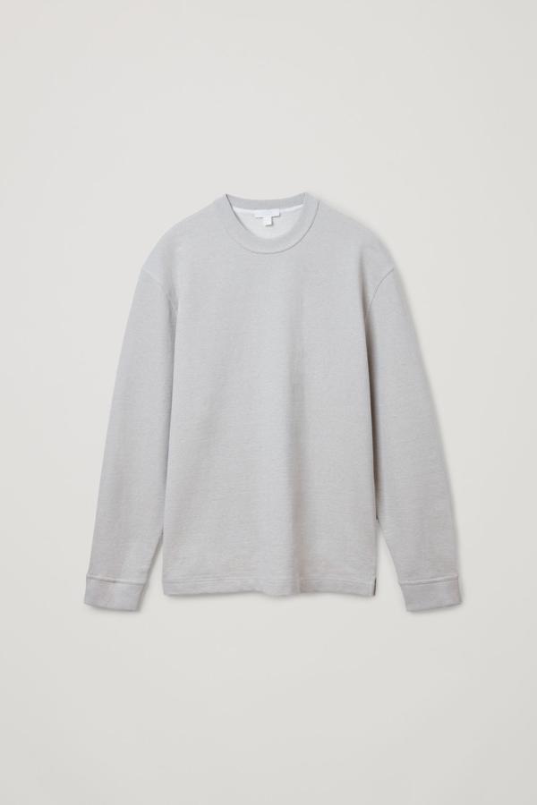 Cos Organic Cotton Crew Sweatshirt In Beige