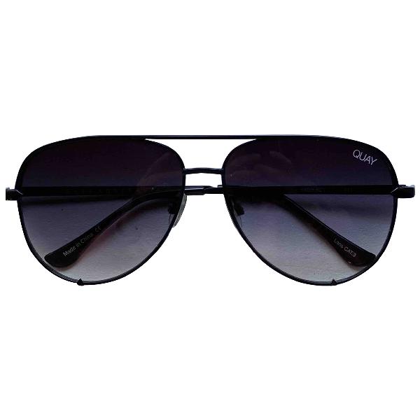 Quay Black Metal Sunglasses